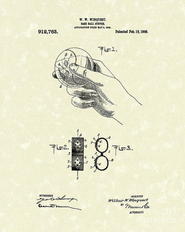 Winquest Poster featuring the drawing Bare Ball Curver 1909 Patent Art by Prior Art Design