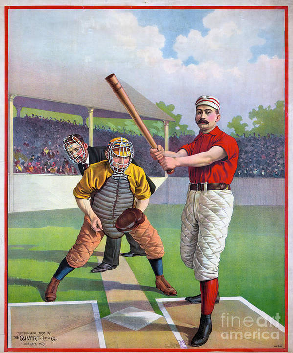 1895 Poster featuring the photograph Baseball Game, C1895 by Granger