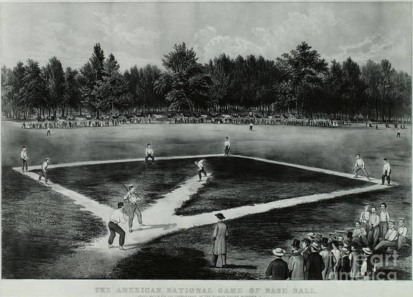 Baseball Poster featuring the photograph Baseball In 1846 by Omikron