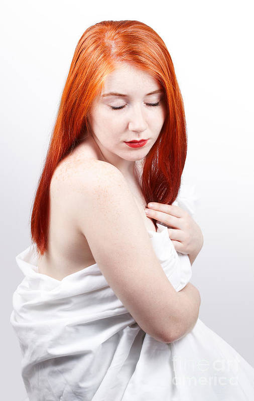 Red Head Poster featuring the photograph Beautiful Redhead Studio Shot by Gabriela Insuratelu