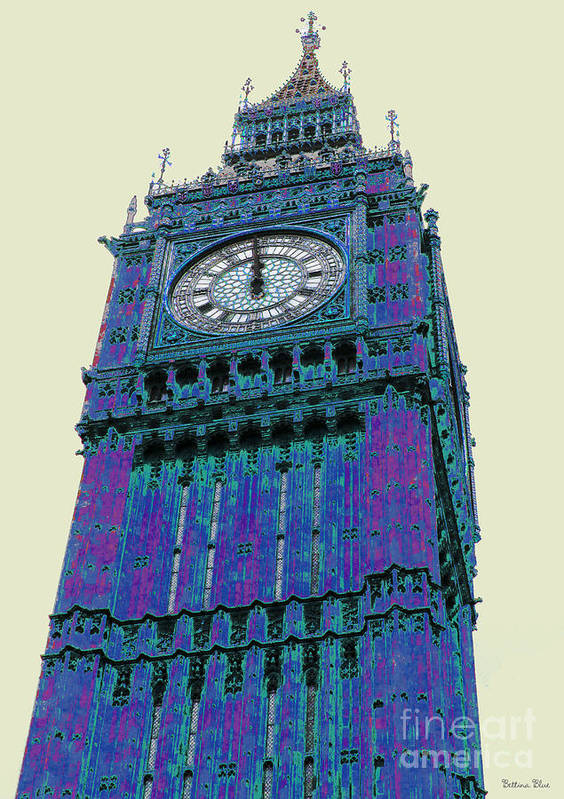 Big Ben Poster featuring the pyrography Big Blue Ben by Beth Saffer