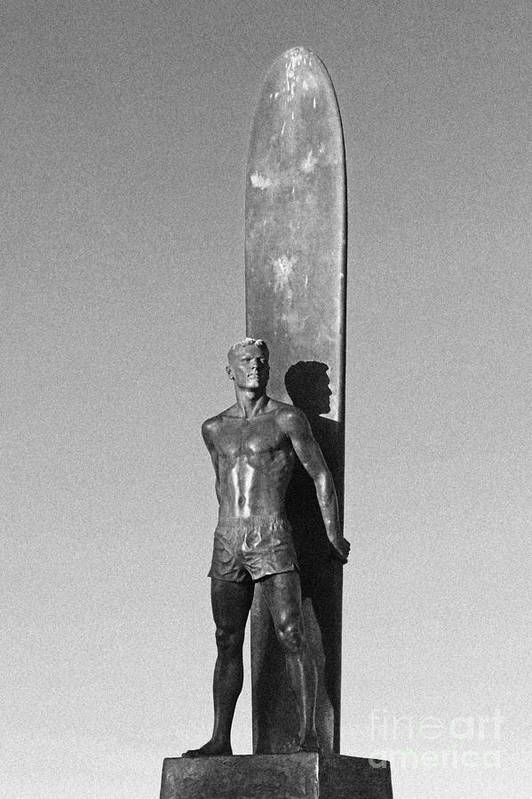 Santa Cruz Poster featuring the photograph Black And White Surfer Statue by Paul Topp