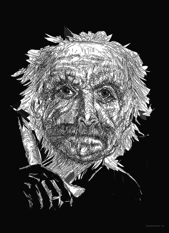 Pen And Ink Poster featuring the drawing Black And White With Pen And Ink Drawing Of A Old Man by Mario Perez