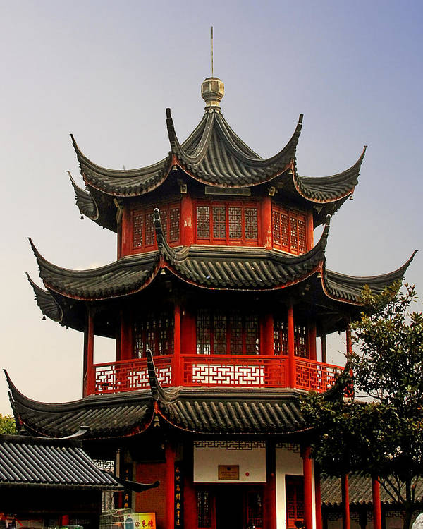 Pagodas Poster featuring the photograph Buddhist Pagoda - Shanghai China by Christine Till
