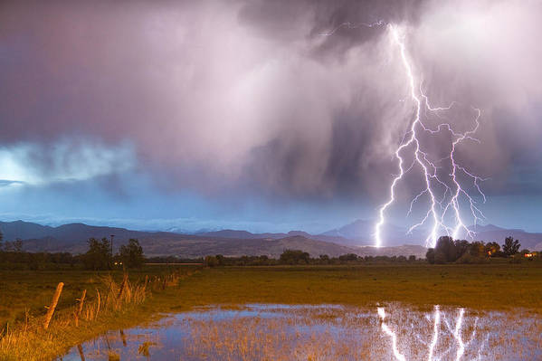 Lightning Poster featuring the photograph C2g Lightning Bolts Striking Longs Peak Foothills 6 by James BO Insogna