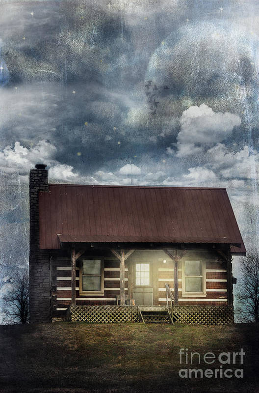 Aged Poster featuring the photograph Cabin At Night by Stephanie Frey