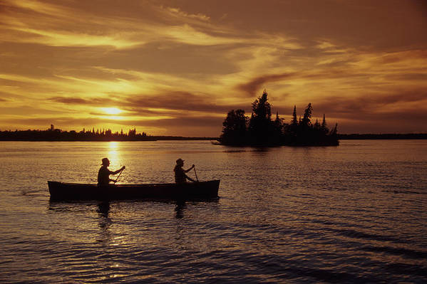 Adult Poster featuring the photograph Canoeing At Sunset, Otter Falls by Dave Reede