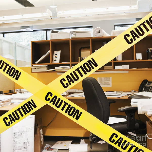 Architecture Poster featuring the photograph Caution Tape Blocking A Cubicle Entrance by Jetta Productions, Inc