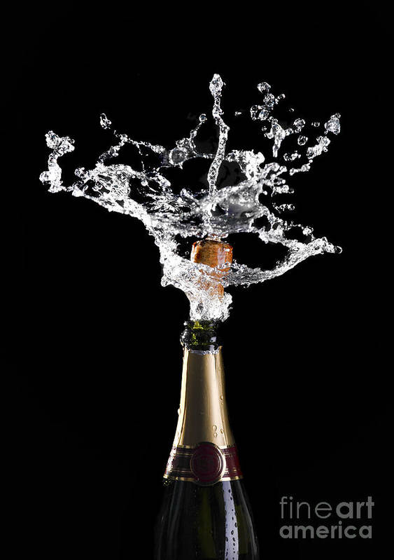 Champagne Poster featuring the photograph Champagne Cork Explosion by Gualtiero Boffi