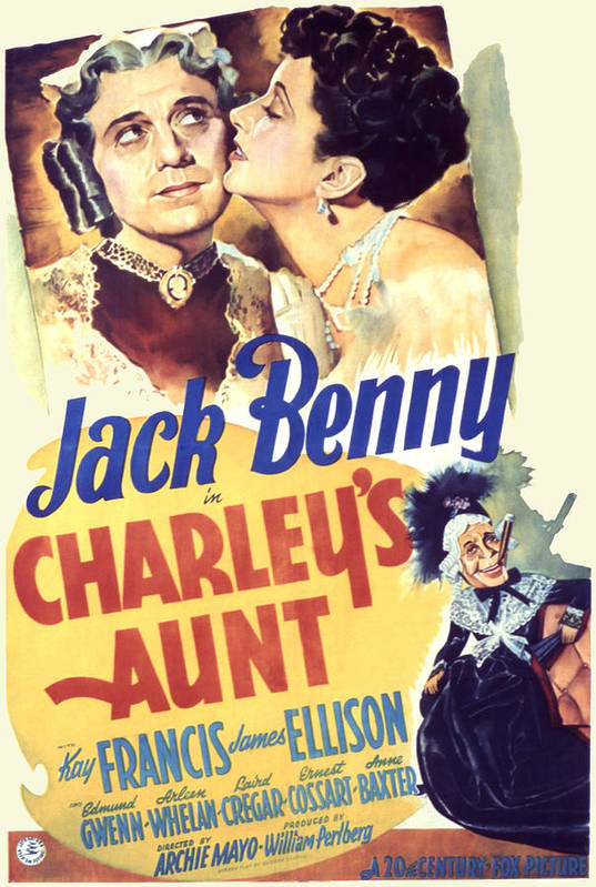 1940s Movies Poster featuring the photograph Charleys Aunt, Jack Benny, Kay Francis by Everett