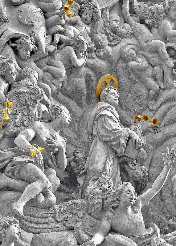 St Poster featuring the photograph Church Of St James The Greater Prague - Stucco Bas-relief by Christine Till