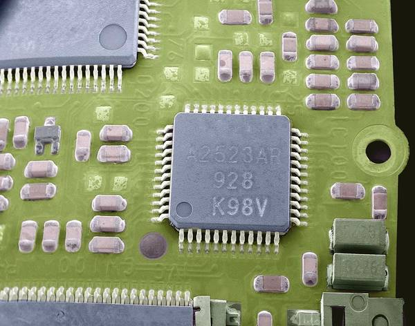 Microchip Poster featuring the photograph Circuit Board Microchip, Sem by Steve Gschmeissner