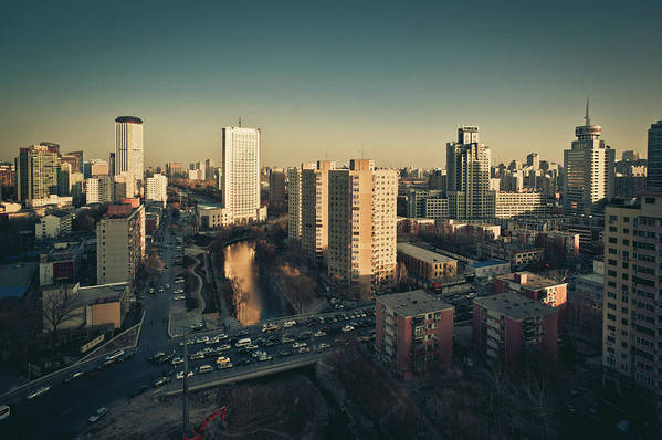Horizontal Poster featuring the photograph Cityscape Of Beijing, China by Yiu Yu Hoi