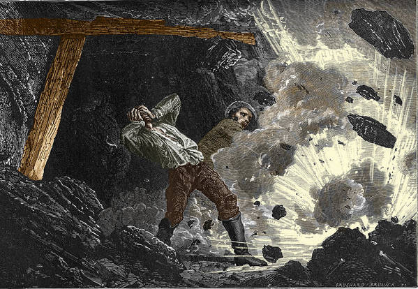 Disaster Poster featuring the photograph Coal Mine Explosion, 19th Century by Sheila Terry
