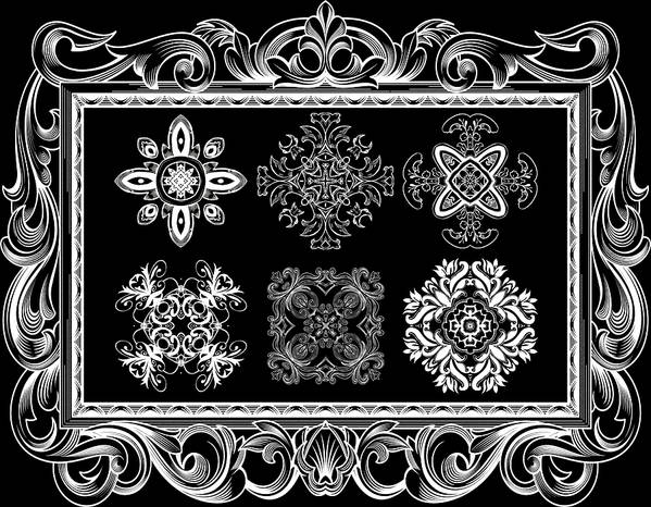 Intricate Poster featuring the digital art Coffee Flowers Ornate Medallions Bw 6 Piece Collage Framed by Angelina Vick