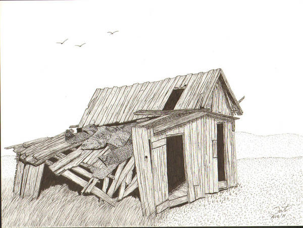 Pen And Ink Poster featuring the drawing Collapsed by Pat Price