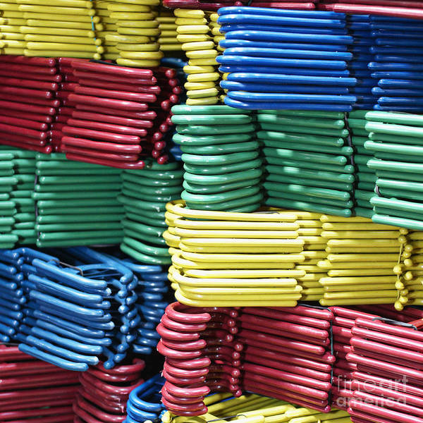 Blue Poster featuring the photograph Colorful Clothes Hangers by Skip Nall