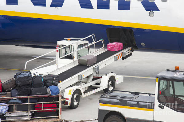 Air Travel Poster featuring the photograph Conveyor Unloading Luggage by Jaak Nilson