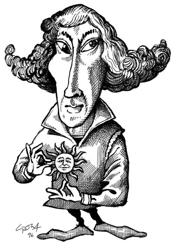 Nicolaus Copernicus Poster featuring the photograph Copernicus, Caricature by Gary Brown