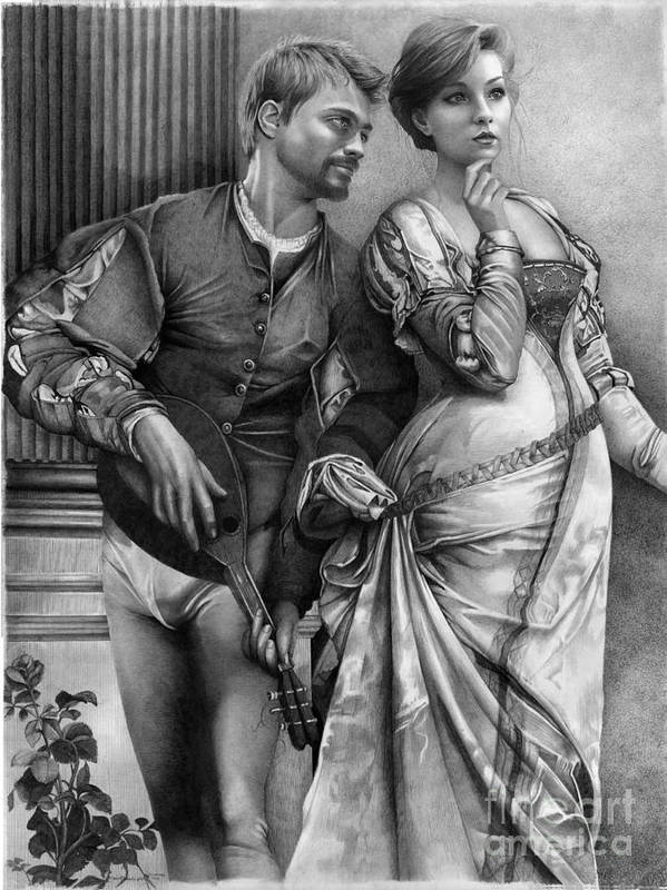 Vanderpool Poster featuring the drawing Courting by David Vanderpool