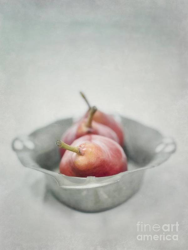 Pear Poster featuring the photograph Crimson And Silver by Priska Wettstein