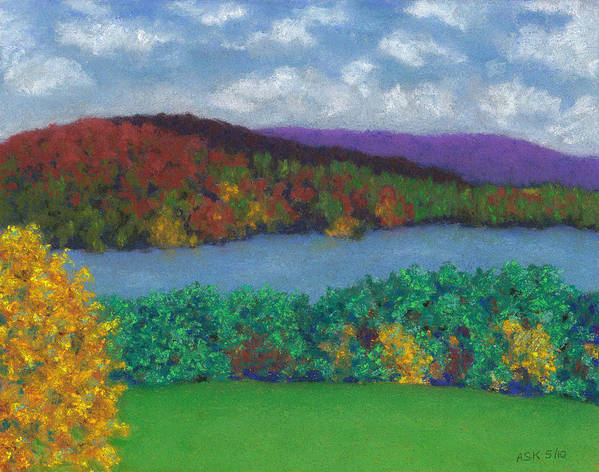 Landscape Poster featuring the pastel Crisp Kripalu Morning by Anne Katzeff