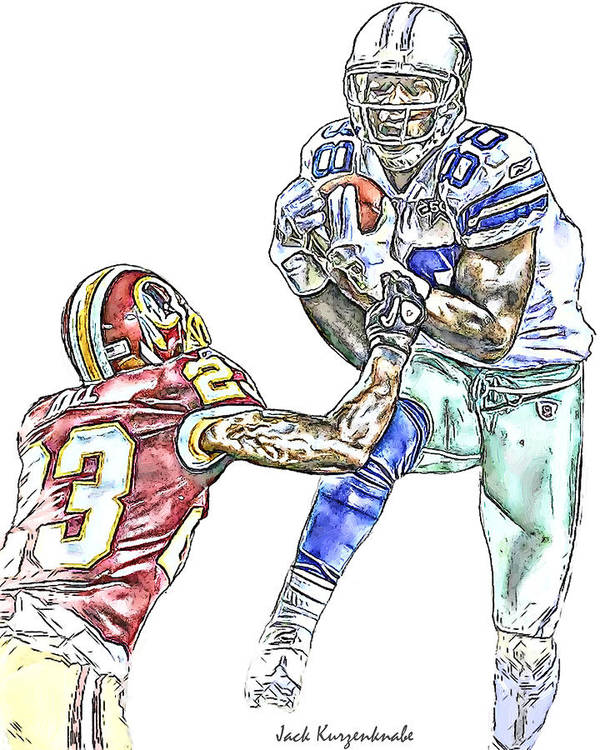 Dallas Cowboys Poster featuring the digital art Dallas Cowboys Dez Bryant Washington Redskins Deangelo Hall by Jack K