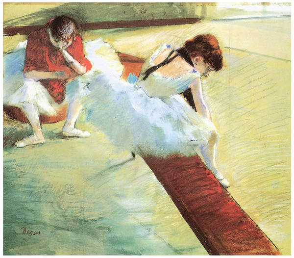 Dancers Resting Poster featuring the pastel Dancers Resting by Edgar Degas