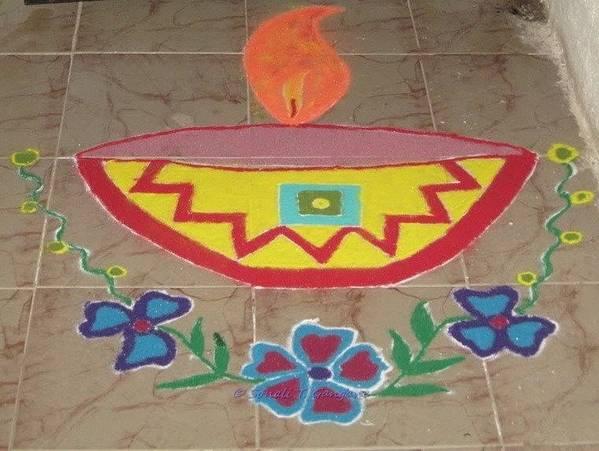 Colourful Diya Poster featuring the drawing Decorative Earthen Diya Rangoli by Sonali Gangane