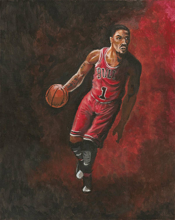 Derrick Rose Poster featuring the painting Derrick Rose by Kerstin Carrion