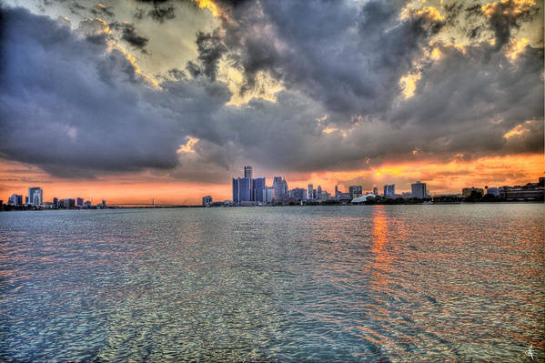 Sunset Poster featuring the photograph Detroit Sunset by Nicholas Grunas