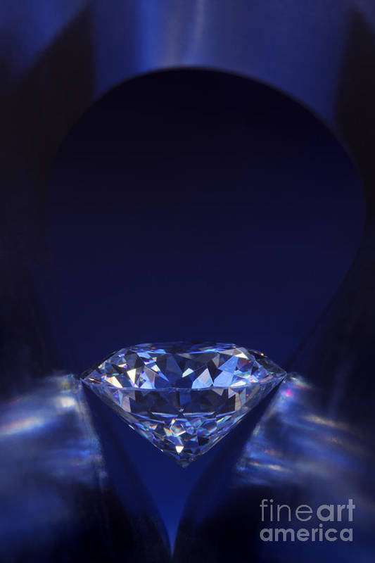 Abundance Poster featuring the jewelry Diamond In Deep-blue Light by Atiketta Sangasaeng