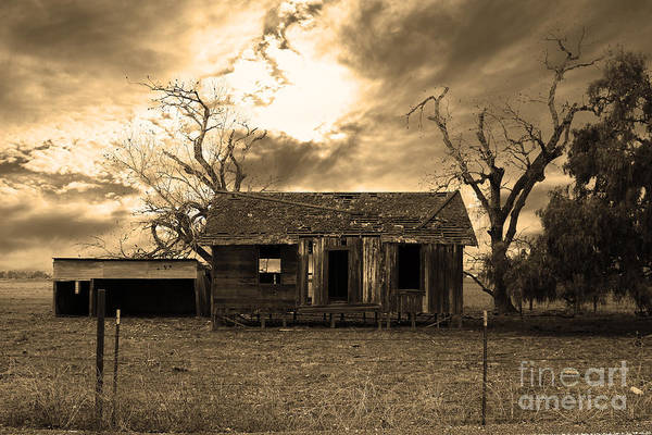Black And White Poster featuring the photograph Dilapidated Old Farm House . 7d10341 . Sepia by Wingsdomain Art and Photography