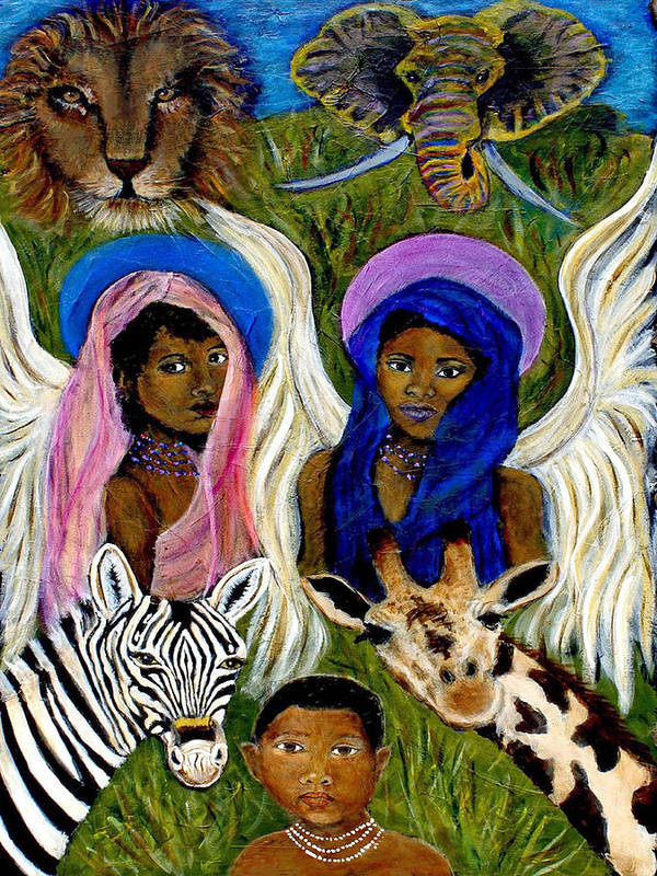 Africa Poster featuring the painting Earthangels Abeni And Adesina From Africa by The Art With A Heart By Charlotte Phillips