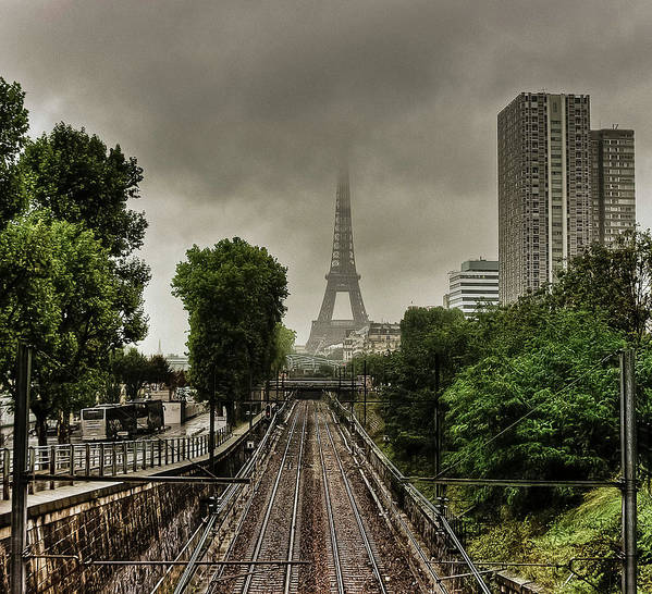 Horizontal Poster featuring the photograph Eiffel Tower In Clouds by Stéphanie Benjamin