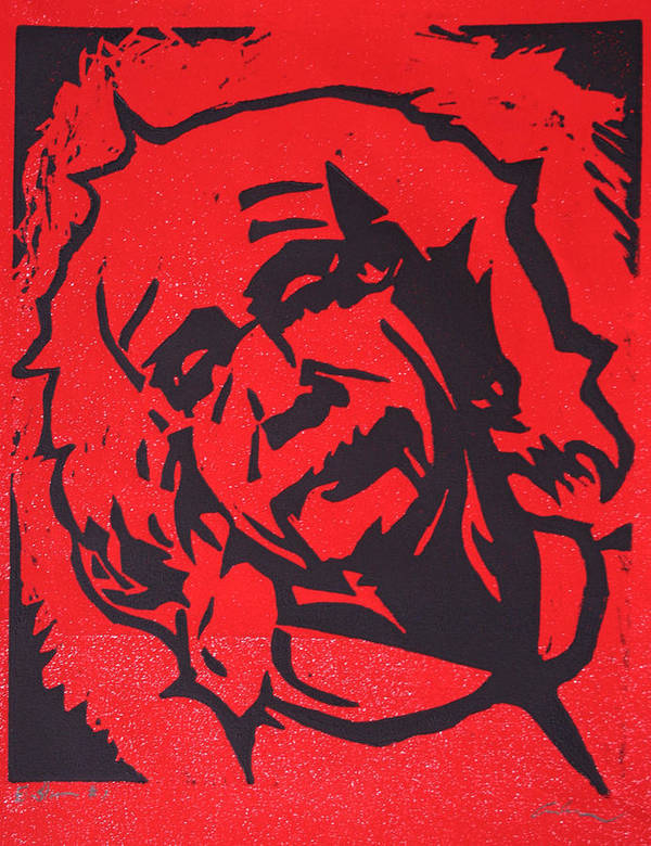 Lino Poster featuring the drawing Einstein 2 by William Cauthern