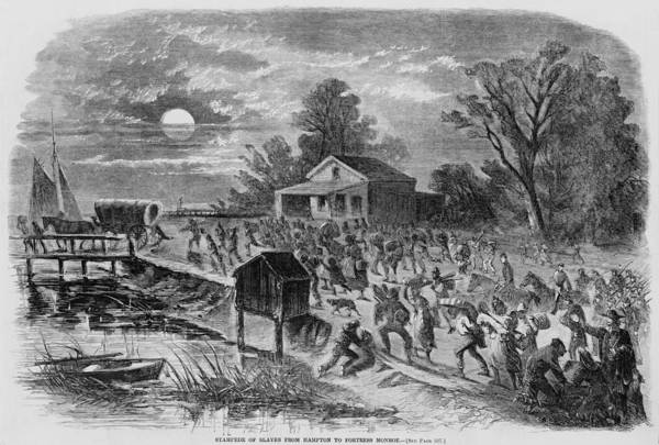 History Poster featuring the photograph Enslaved African-americans Running by Everett