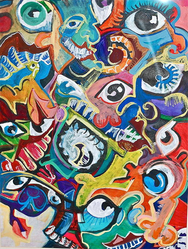 Eye Poster featuring the painting Faces In A Crowd by Jame Hayes