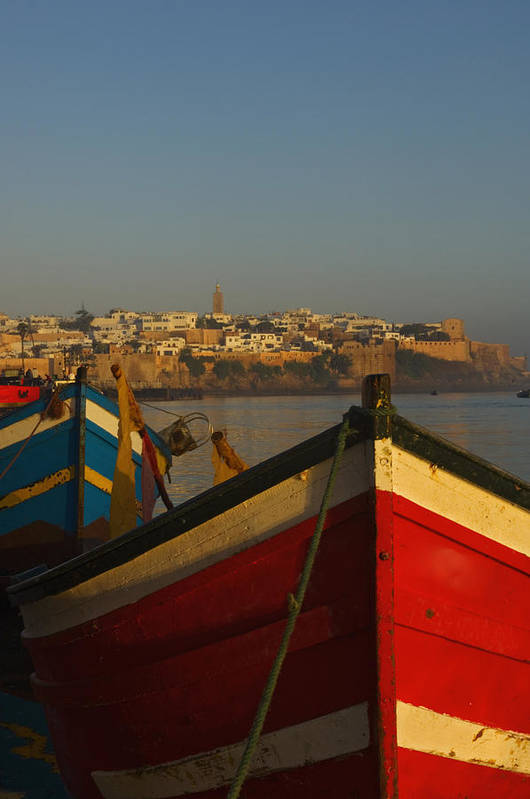 Photography Poster featuring the photograph Fishing Boats In Front Of Kasbah Des by Axiom Photographic