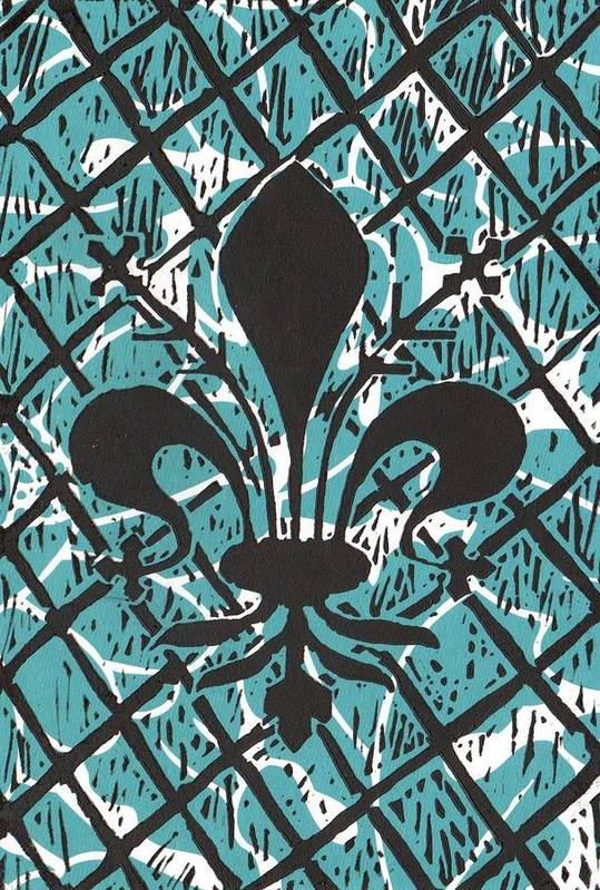 Fleur De Lis Poster featuring the mixed media Florentine Fleur Ginger T by Julia Forsyth