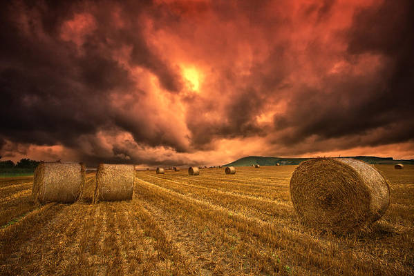 Hay Bales Poster featuring the photograph Foreboding Sky by Mark Leader