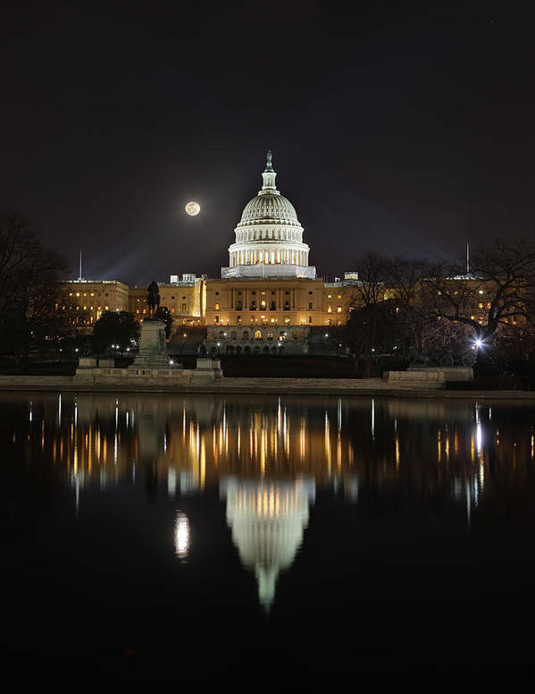 Metro Poster featuring the photograph Full Moon At The Us Capitol by Metro DC Photography