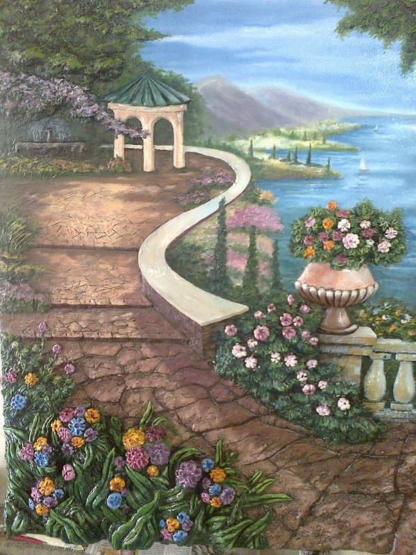 Landscape Poster featuring the painting Garden View 3 by Prashant Hajare