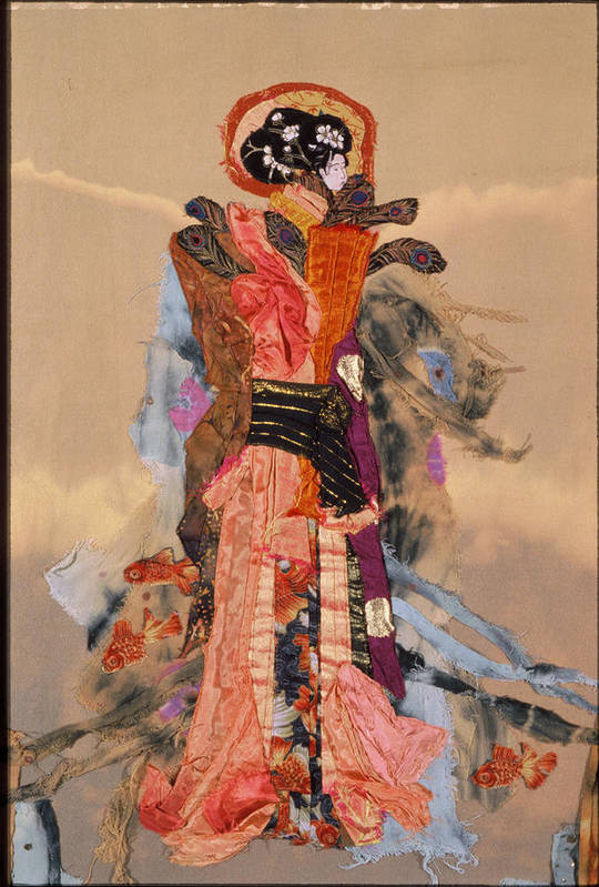 Quilt Poster featuring the tapestry - textile Geisha by Roberta Baker