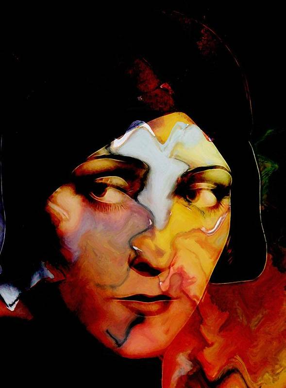 Gloria Swanson Actress Abstract Face Female Beauty Portrait Expressionism Impressionism Woman Girl 20s Silent Film Star Color Colorful Painting Sad Look Poster featuring the painting Gloria Swanson Abstract by Stefan Kuhn