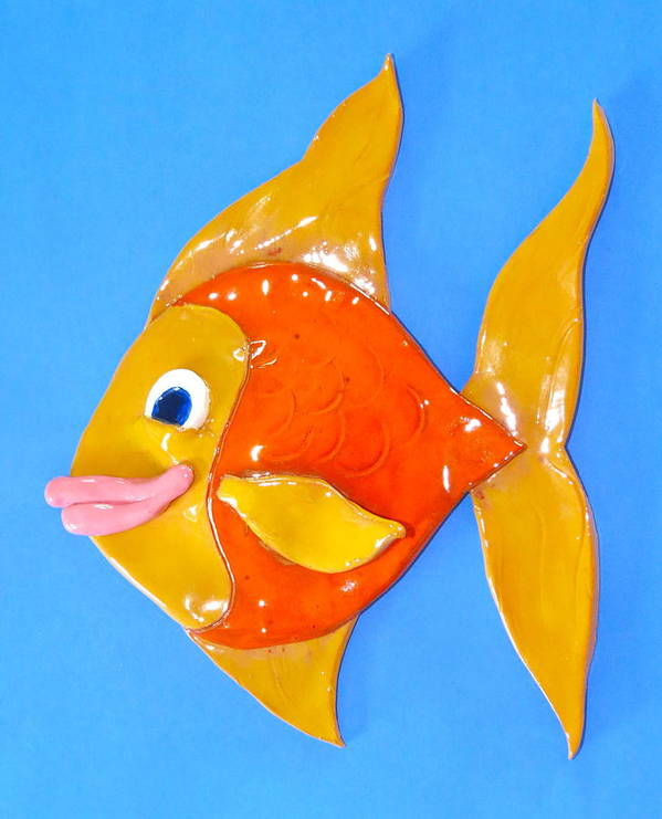 Fish Poster featuring the ceramic art Gold Fish by Kimberly Castor