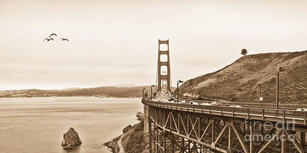 Golden Gate Bridge Poster featuring the photograph Golden Gate Bridge In Sepia by Betty LaRue