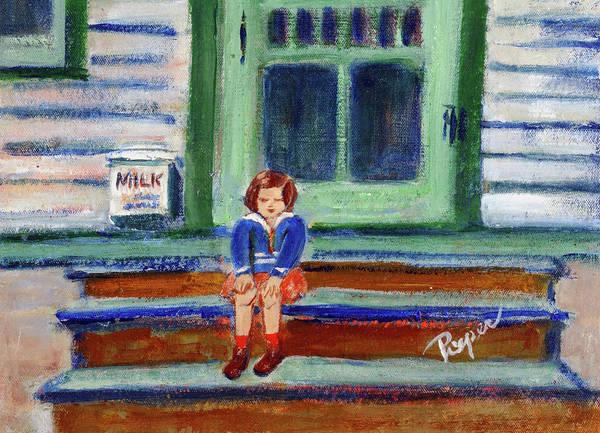 Child On Door Stoop Poster featuring the painting Grandma's Door Steps by Elzbieta Zemaitis