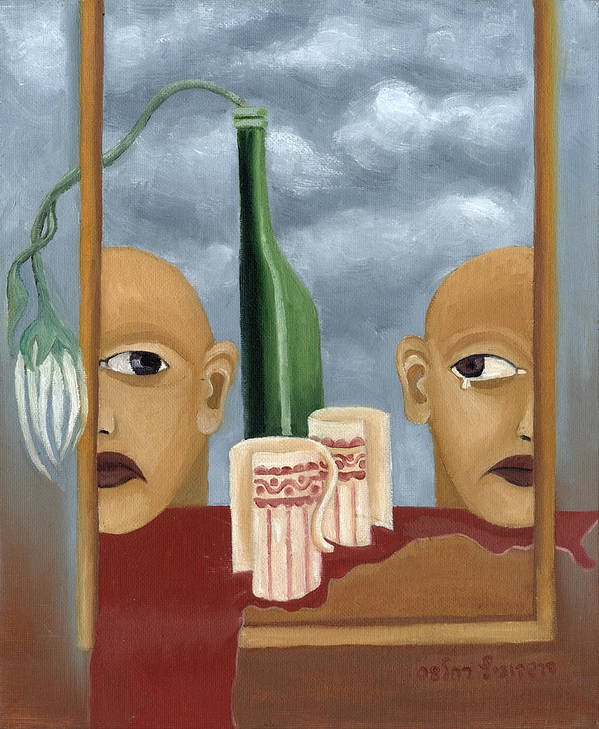 Green Poster featuring the painting Green Bottle Agony Surrealistic Artwork With Crying Heads Cut Cups Flowing Red Wine Or Blood Frame  by Rachel Hershkovitz