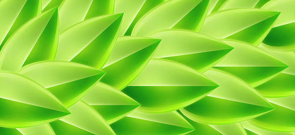 Horizontal Poster featuring the digital art Green Feathers, Full Frame by Ralf Hiemisch